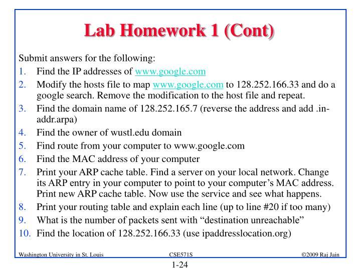 Lab Homework 1 (Cont)
