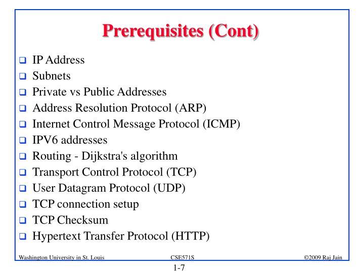 Prerequisites (Cont)