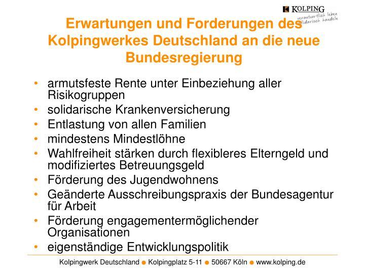 Erwartungen und Forderungen des Kolpingwerkes Deutschland an die neue Bundesregierung