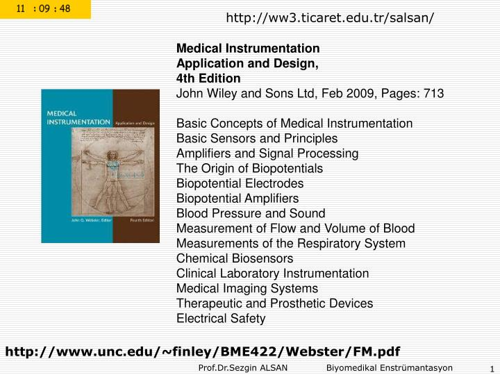 Ppt Medical Instrumentation Application And Design 4th Edition