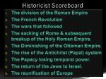 historicist scoreboard