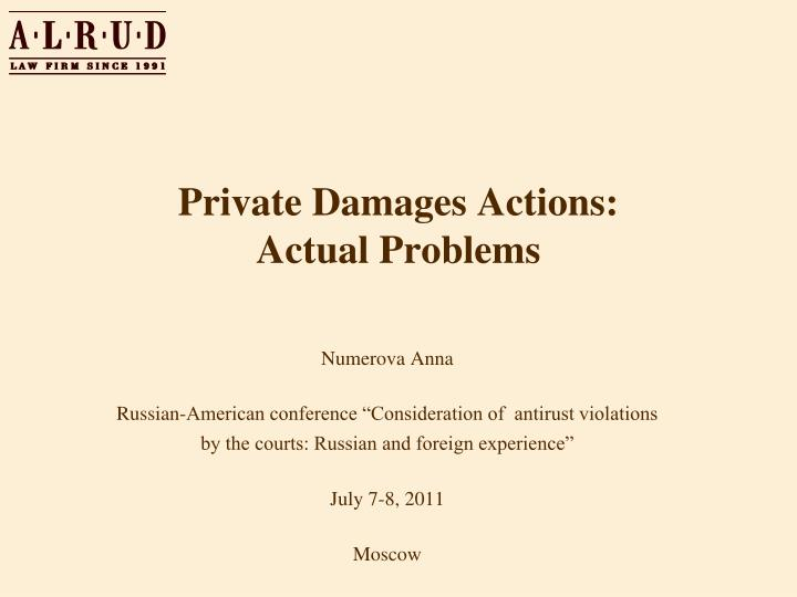 private damages actions actual problems n.