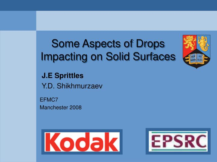some aspects of drops impacting on solid surfaces n.