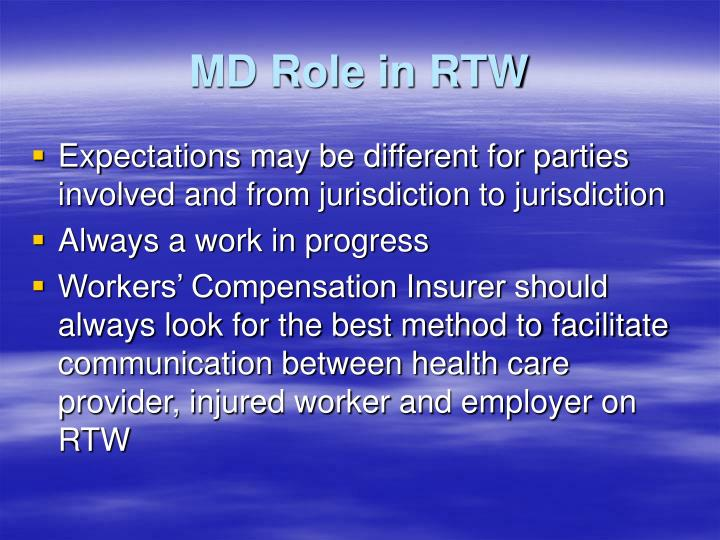 MD Role in RTW
