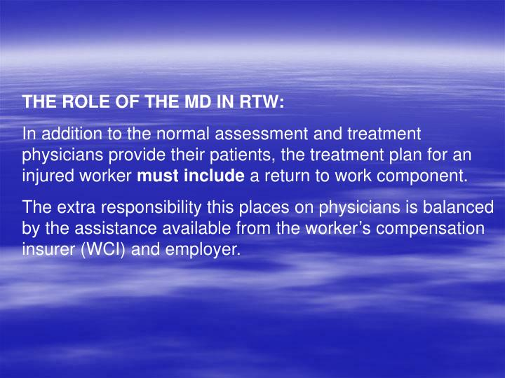 THE ROLE OF THE MD IN RTW: