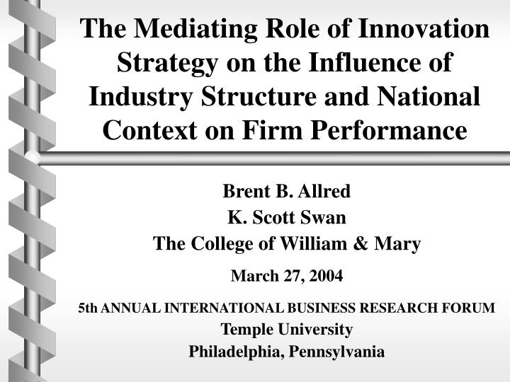 The Mediating Role of Innovation Strategy on the Influence of Industry Structure and National Contex...