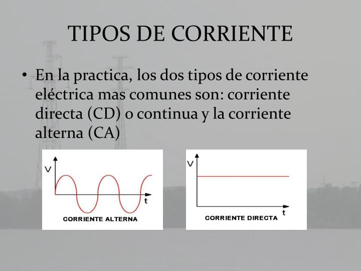 TIPOS DE CORRIENTE