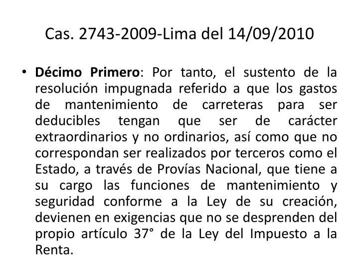 Cas. 2743-2009-Lima del 14/09/2010