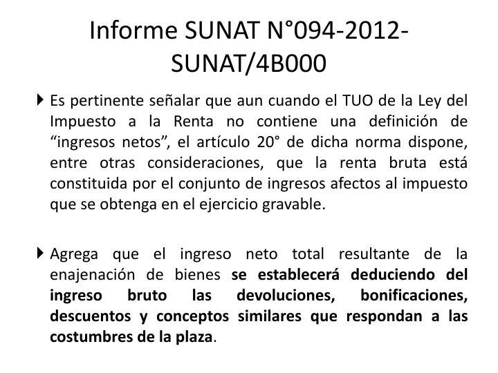 Informe SUNAT N°094-2012-SUNAT/4B000