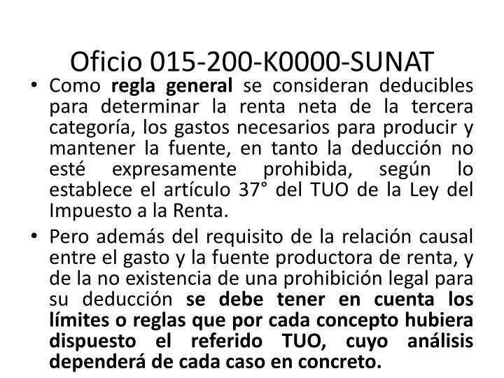 Oficio 015-200-K0000-SUNAT
