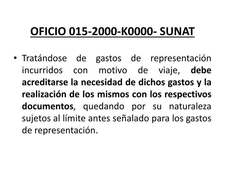 OFICIO 015-2000-K0000- SUNAT