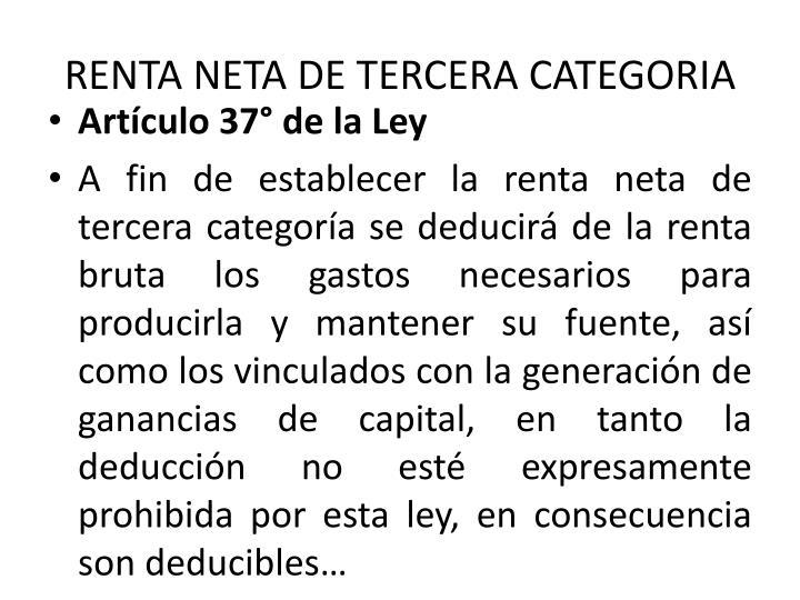 RENTA NETA DE TERCERA CATEGORIA