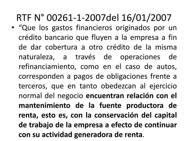 RTF N° 00261-1-2007del 16/01/2007