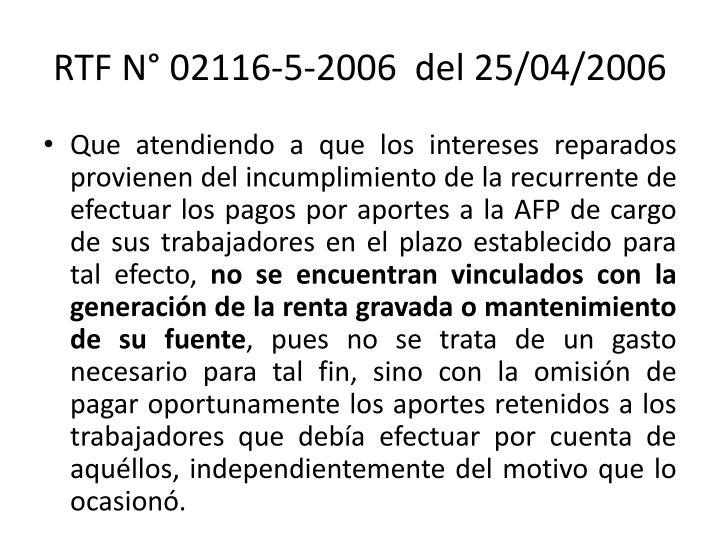 RTF N° 02116-5-2006  del 25/04/2006