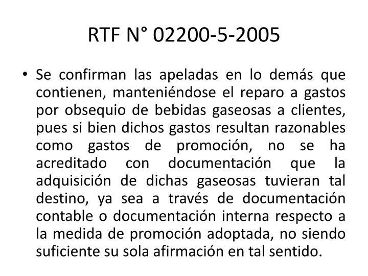 RTF N° 02200-5-2005