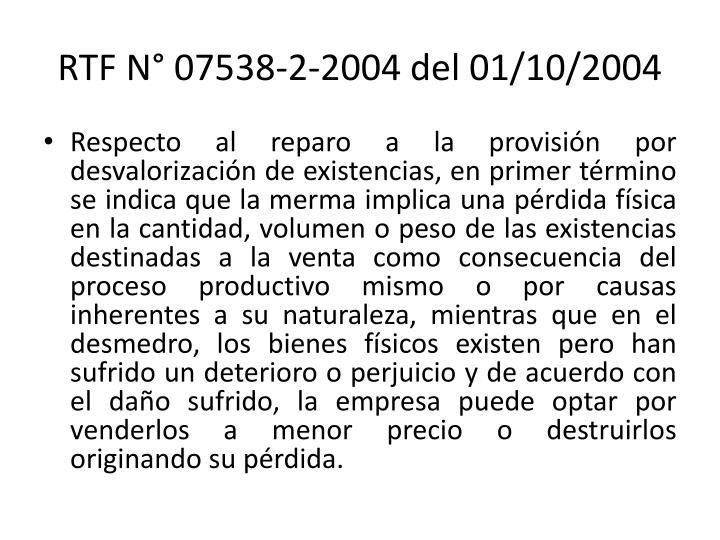 RTF N° 07538-2-2004 del 01/10/2004