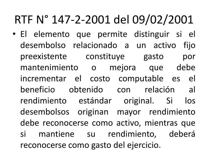 RTF N° 147-2-2001 del 09/02/2001