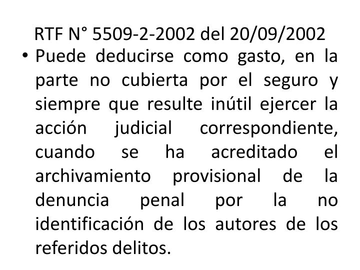 RTF N° 5509-2-2002 del 20/09/2002