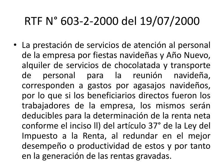 RTF N° 603-2-2000 del 19/07/2000