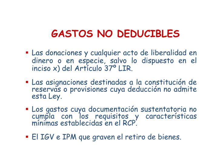 GASTOS NO DEDUCIBLES