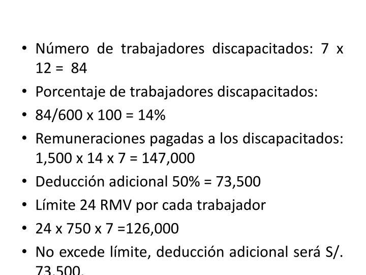 Número de trabajadores discapacitados: 7 x 12 =  84