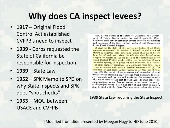 Why does CA inspect levees?