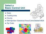 select a basic control unit
