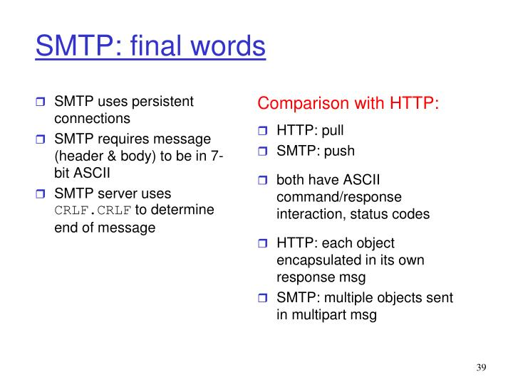 SMTP uses persistent connections