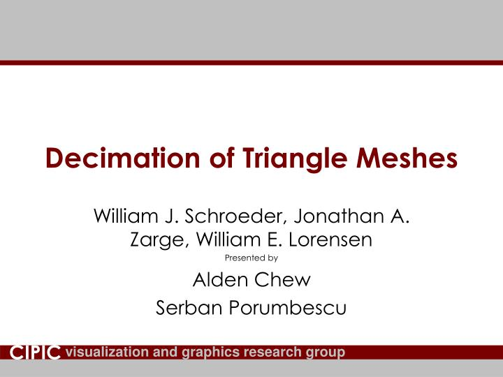 PPT - Decimation of Triangle Meshes PowerPoint Presentation