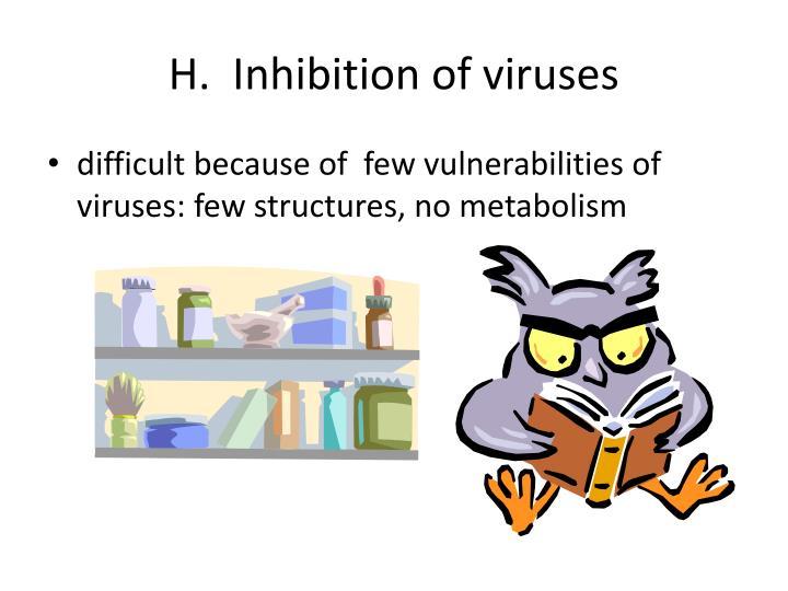 H.  Inhibition of viruses