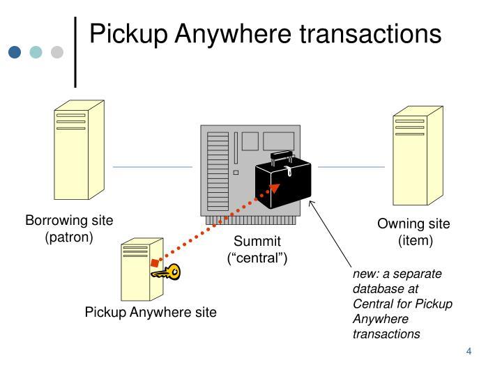 Pickup Anywhere transactions