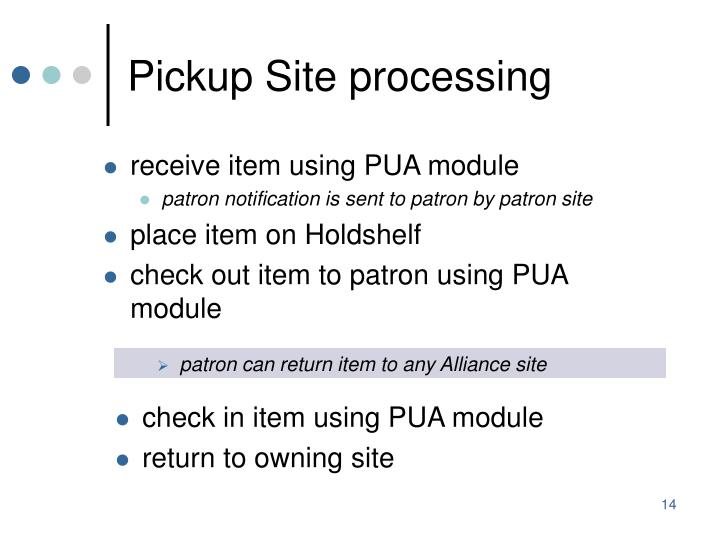 Pickup Site processing