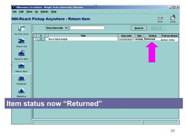"Item status now ""Returned"""