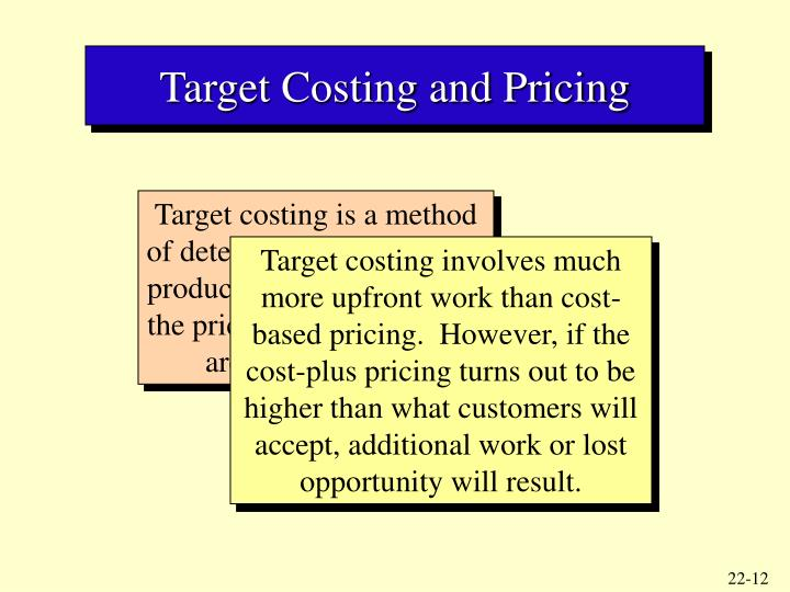 Target Costing and Pricing
