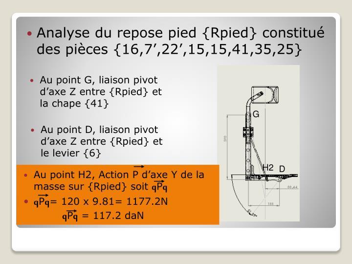 Analyse du repose pied {Rpied} constitué des pièces {16,7',22',15,15,41,35,25}