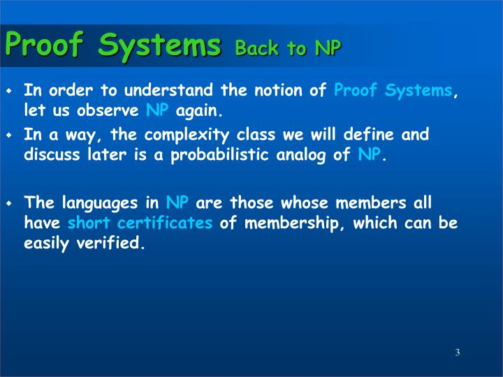 Proof systems back to np