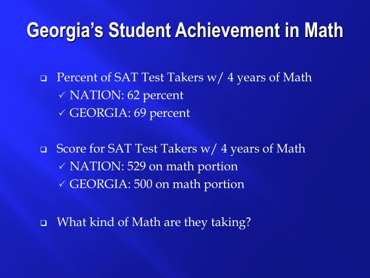 Percent of SAT Test Takers w/ 4 years of Math