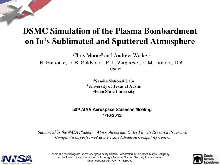 Dsmc simulation of the plasma bombardment on io s sublimated and sputtered atmosphere