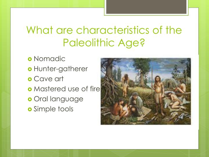 What are characteristics of the paleolithic age