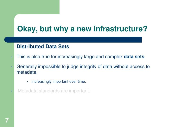 Okay, but why a new infrastructure?