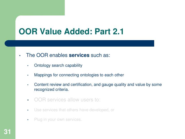 OOR Value Added: Part 2.1