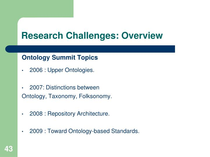 Research Challenges: Overview