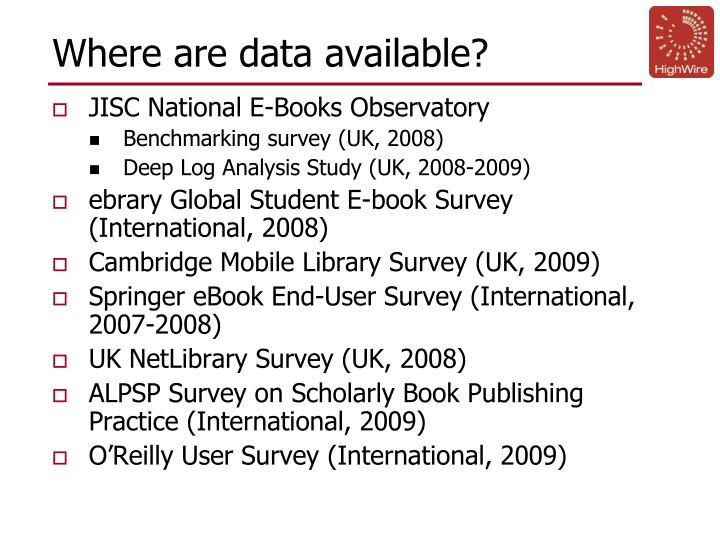 Where are data available?