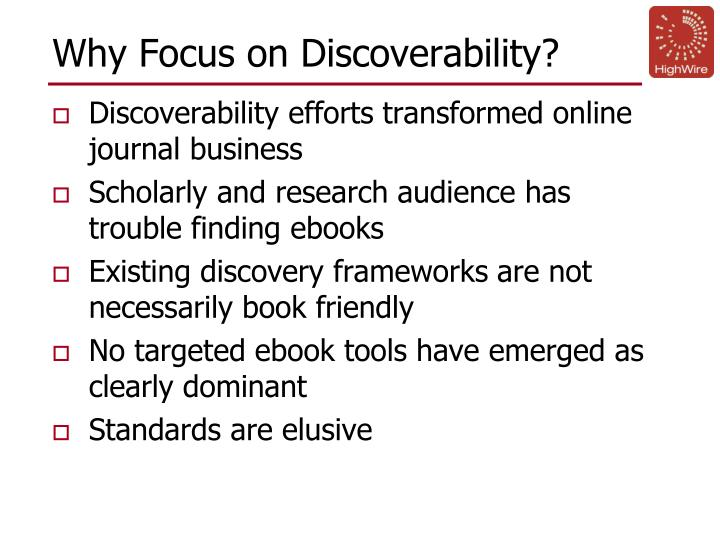 Why focus on discoverability