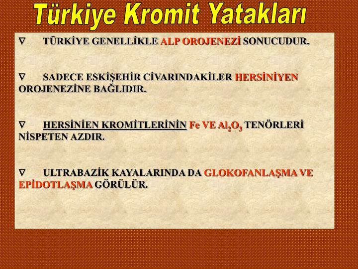 Türkiye Kromit Yatakları