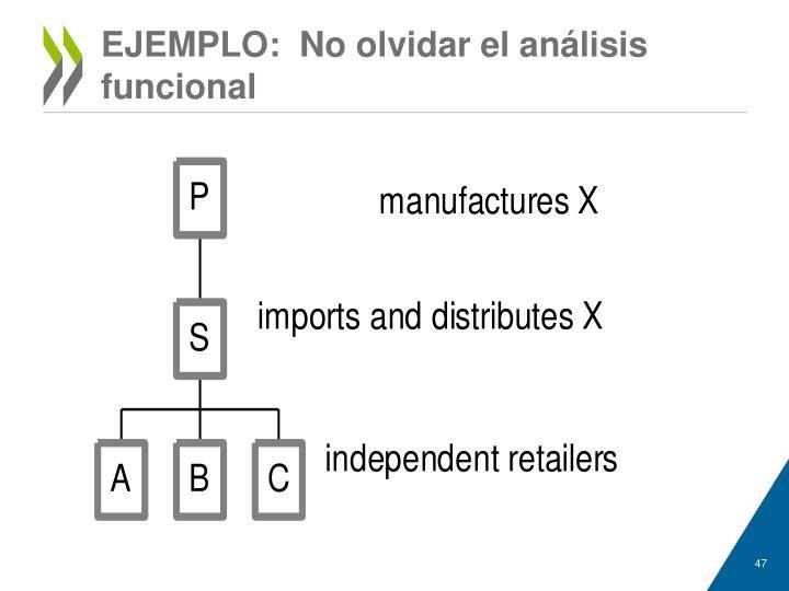 EJEMPLO:  No olvidar el análisis funcional