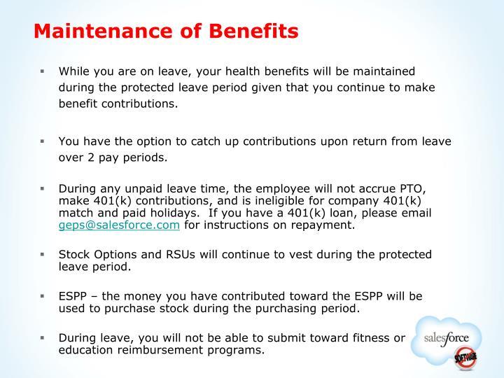 Maintenance of Benefits