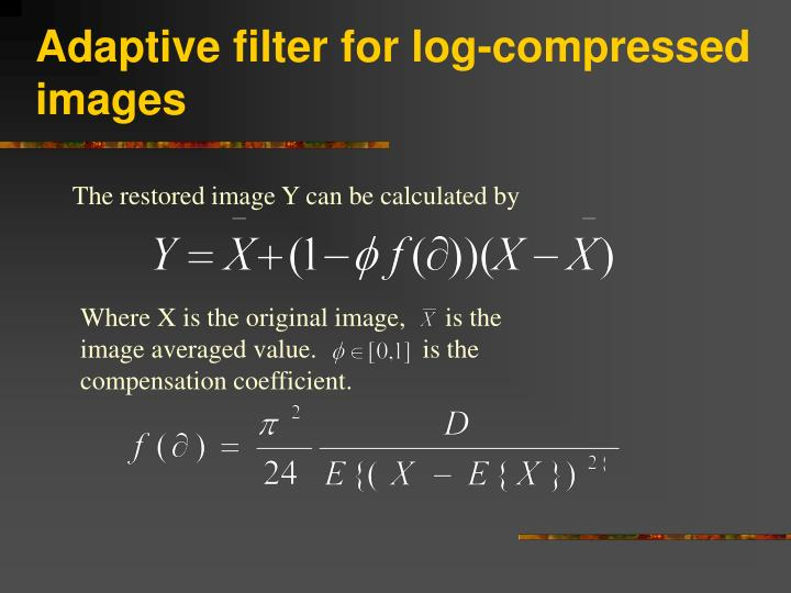 Adaptive filter for log-compressed images
