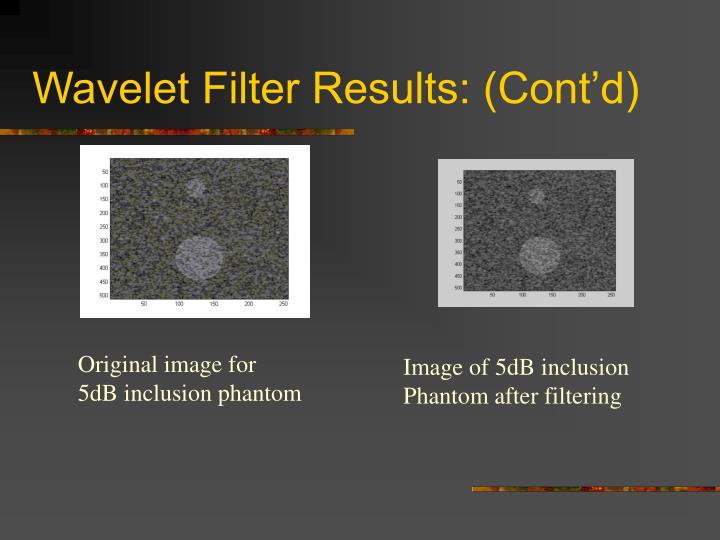 Wavelet Filter Results: (Cont'd)