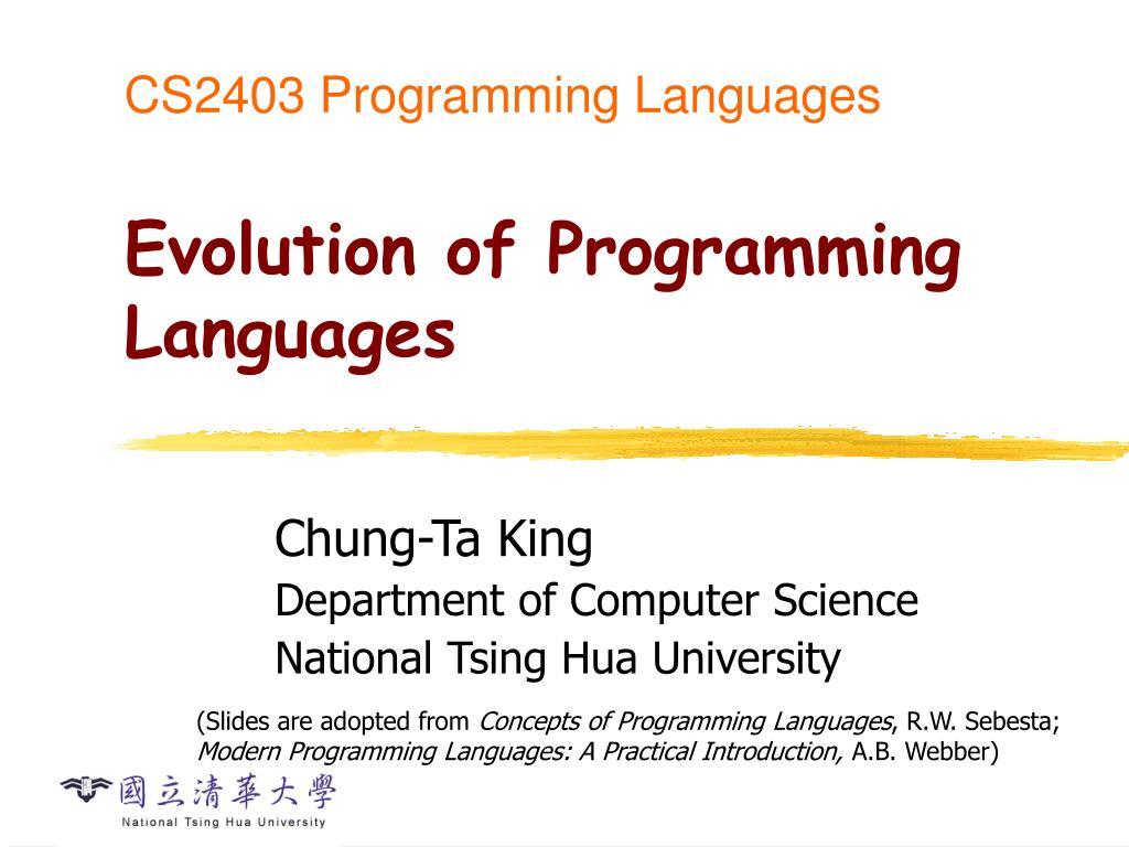 cs2403 programming languages evolution of programming languages n.